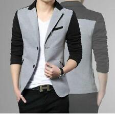 Men's Fashion Color Stitching Blazer Suit Slim Fit Two Button Casual Jacket T23