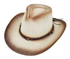 Chapeau de paille COWBOY BEIGE MARRON / noir blanc aspect flammé-mauve avec