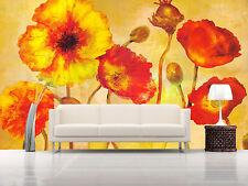 Papel Pintado Mural De Vellón Naranja De Flores 23 Paisaje Fondo De Pantalla ES