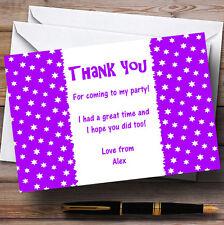 Purple & white stars personalizzata Children's Party CARTOLINE di ringraziamento