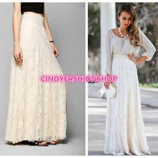 USA New Women Double Layer Lace Elastic High Waist Elegant Maxi Long Lace Skirt
