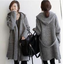 Women's Korean Knit Sweater Coat Belt Hooded Long Cardigan Loose Causal Jackets