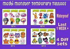 MOSHI MONSTERS kids TEMPORARY TATTOOS  X11 tattoo set party LAST 1 WEEK loot bag