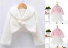 New Princess Wedding Flower Girl Bolero Soft Faux Fur Shrug Jacket Kids Clothes