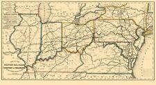 Old Railroad Map - Western Railroads, Tributary to Philadelphia 1851 - 23 x 42