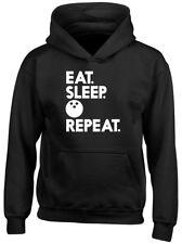 Eat Sleep Bowling Repeat Boys Girls Kids Childrens Hoodie