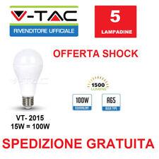 5 LAMPADINE LED V-TAC LAMPADA BULBO 15W=100W VT-2015 SMD LED 1500LM A65 E27 200°