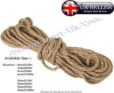 4mm 6mm natural jute de hesse jute ficelle corde épaisse chanvre corde cordage en sisal @UK