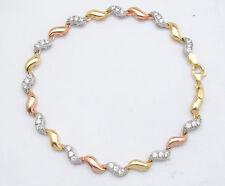 1.2 TCW Diamonique CZ  Bracelet 14K TriColor Yellow Rose Pink White Gold 9.2gr