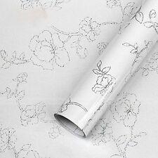 White Flower Self Adhesive Contact Paper Vinyl Wallpaper Kitchen Cabinet Decor