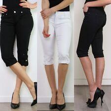 Women's Ladies Stretch Capri Pantaloni Pantaloncini Jeans Taglie UK 6-16