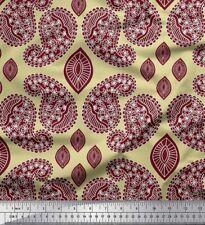 Soimoi Fabric Maroon Paisley Print Fabric by Meter-PSL-544H