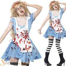 Ladies Zombie Alice Costume Halloween Fancy Dress Wonderland Adult Outfit