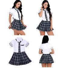 Women's School Girl Student Uniform Naughty Fancy Dress Halloween Costumes Skirt