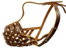 """Secure Genuine Leather Basket Dog Muzzle 12""""-3.5"""" size Pitt Bull Amstaff"""