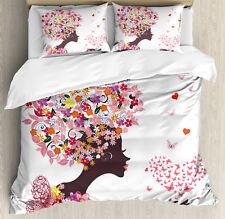 Summer Duvet Cover Set with Pillow Shams Butterflies Blossoms Print