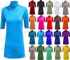 New Ladies Plain Polo Turtle Neck Short Cap Sleeve Stylish Basic TShirt Vest Top