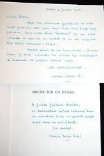 BRUME SUR UN ETANG ROMAN,MARIE REINE SOREL ENVOI DEDICACE ET CARTE,SILVAIRE 1989