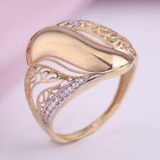Gelbgold Ring mit Zirkonia Weissgold bicolor schoenes Muster 14kt Gold 585 Nue