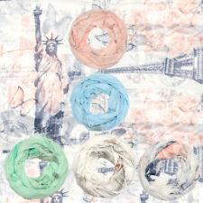 Loopschal mit Städte-Print Halstuch Schal Damen Frühling Sommer Crush-Optik Neu