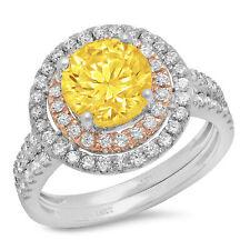 2.95 RD Cut Halo Yellow Stone Wedding Statement Ring set 14k White Rose Gold