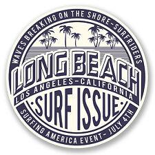 2 x 10 cm de long beach en californie Vinyle Autocollant voyage bagages tag surf USA # 5824