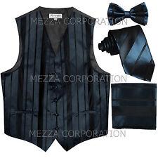 New Men's Tuxedo Vest Stripes Necktie, Bowtie & Hankie set prom party Navy