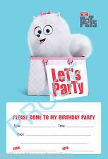 Vida Secreta De Mascotas Pack de 10 Niños Niños Fiesta De Cumpleaños Invitaciones