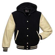 Black Wool Cream Real Leather Sleeves Varsity Letterman Hooded Jackets Hoodie