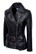 Ladies Black Feminine Jacket Italian Real Lambskin Leather Casual Style Design