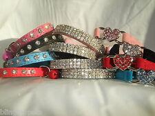 Cat Collar Diamante stones safety elastic Velvet bell Bling leather heart kitten