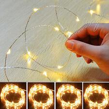 20-100 LED Alimentata a Batteria Rame Argento Filo Colorato stringa Luci Xmas