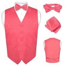 Men's Paisley Design Dress Vest & Bow Tie CORAL PINK Color BOWTie Set