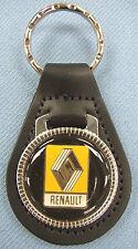 Vintage Black RENAULT Black Leather USA Keyring Key Fob Key Holder