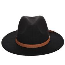 Fashion Men Lady Wool Blend Fedora Panama Hat Wide Brim Casual Outdoor Jazz  Cap aa487b1060fd