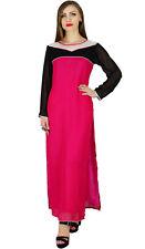 Bimba Women Long Straight Kurta Kurti Pink Georgette Long Sleeves Indian Blouse