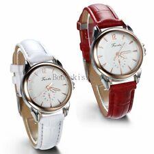 Damen Armbanduhr Analog Quarz Klassische Business Casual Lederarmband Weiss Rot