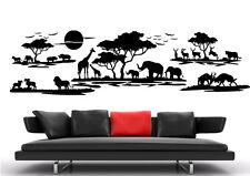 af07 WandTattoo Wandsticker Afrika Landschaft Tier Giraffe baum Elefanten