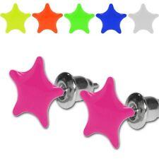 Zwei Ohrstecker Neon Farben UV Aktiv Stern Sterne pink gelb grün weiß blau