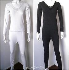 Ladies V Neck Merino Wool Long Sleeve Thermal  2 Pcs Set (Sz 10-22)