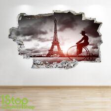 PARIS Pared Adhesivo 3D Look-Dormitorio Salón Torre Eiffel Ciudad de la etiqueta de la pared Z623