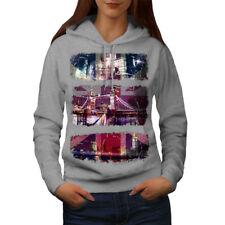 Wellcoda UK London Flag Womens Hoodie, British Casual Hooded Sweatshirt
