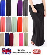 Ladies Women Pleated Fold Over Waist Jersey Maxi Long Length Viscose Gypsy Skirt