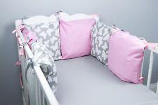 PILLOW BUMPER COT / COT BED BUMPER made from 6 cushions GREY BUTTERFLIES