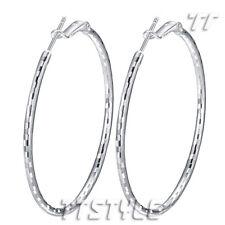 High Quality TT 18K White Gold Plated Large Hoop Earrings (ED99)