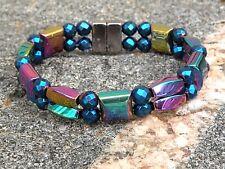 Men Women 100% Magnetic Hematite Bracelet Anklet Necklace 2Row Metallic Rainbow