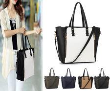 Designer Handbag Faux Leather Ladies Large Stylish Tote Zipper Shoulder Bag New