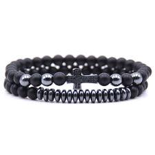 2PCS/Set Fashion Men Natural Stone Hematite CZ Cross Bracelet Bangle Jewelry