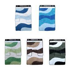 2 Pce Wave 100% Cotton Bathroom Floor Contour and Bath Mat Set
