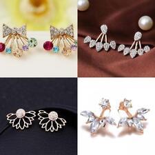 HOT Women Metal Gold Small Bee Crystal Rhinestone Ear Stud Earrings